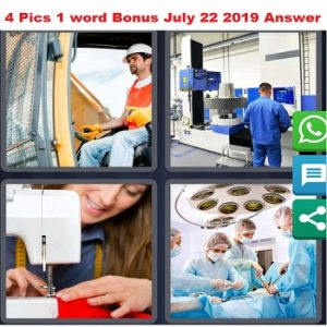 4 pics 1 word bonus July 22 2019 answer