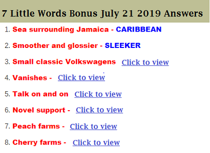7 Little Words Bonus July 21 2019 Daily Puzzle Answers